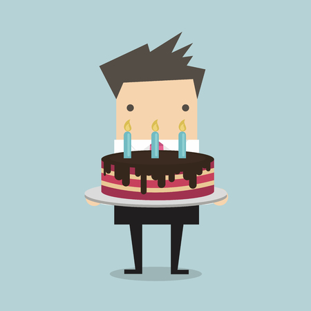yong: Businessman with a big cake vector Illustration