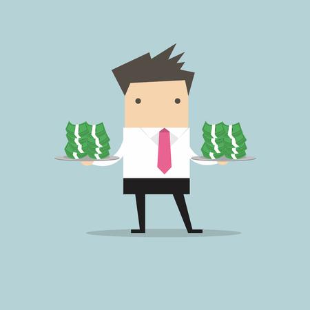 serve: Businessman serve money on the plate