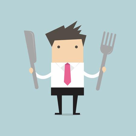 El hombre de negocios con cuchillo y tenedor vector Ilustración de vector