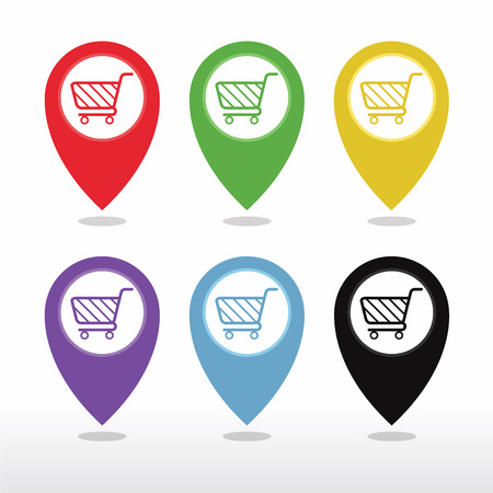 Colorful Pointer Carte Avec Panier, Shopping Plaza, Market Place ou Bazaar icône vecteur