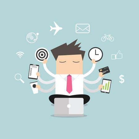 multitasking: Businessman with multitasking and multi skill vector.