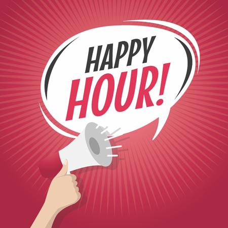la burbuja del discurso de dibujos animados Happy Hour con el altavoz Ilustración de vector