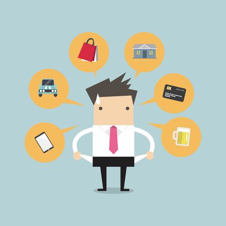 money pocket: Hombre de negocios sin dinero para el gasto, ilustraci�n vectorial.