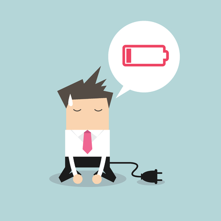 low battery: Businessman feeling tired and low battery.