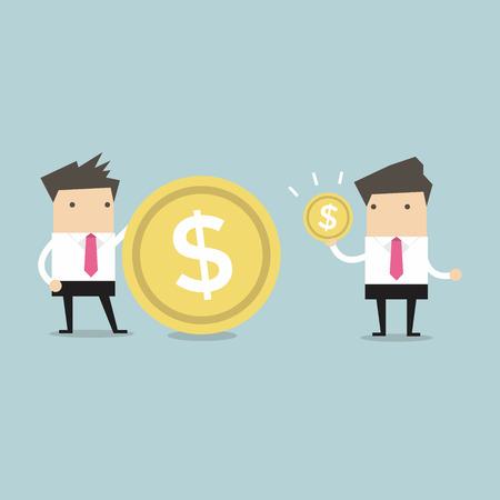 Los hombres de negocios que comparan su vector de ingreso