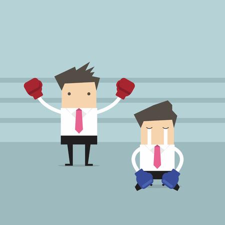 Businessman indossando guanti boxe in piedi nel ring di pugilato come vincitore e sconfitto avversario in ginocchio sul pavimento. Vettoriali