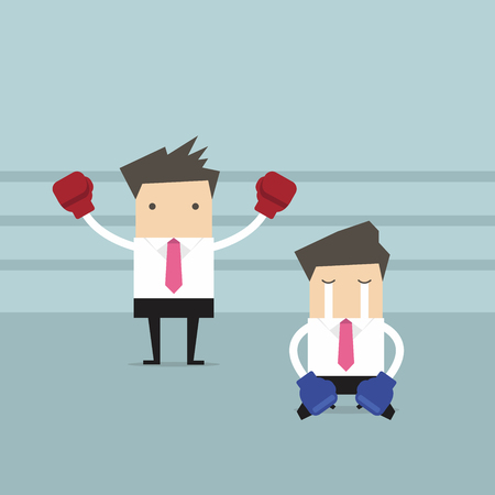 Homme d'affaires avec des gants de boxe debout dans un ring de boxe comme le vainqueur et vaincu l'adversaire à genoux sur le plancher. Vecteurs