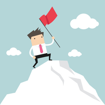 Businessman standing with red flag on mountain peak Ilustracja