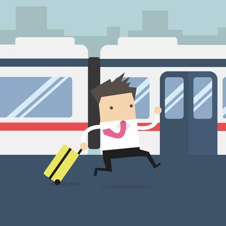 Businessmen running and missed the train Illustration