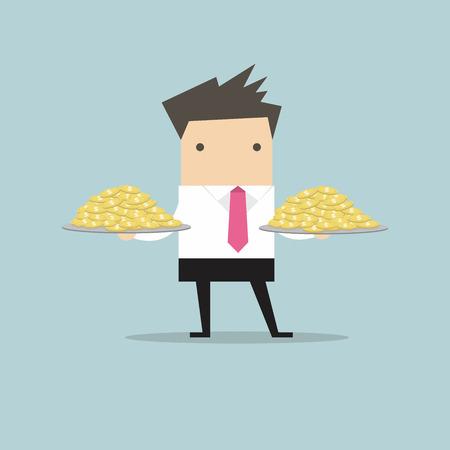 serve: Businessman serve money coin on the plate Illustration
