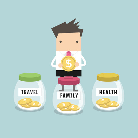 Businessman saving money for Family, Health and Travel