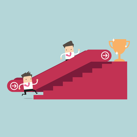 man climbing: Businessman who going up to escalator to success trophy and another man who is climbing the stairs