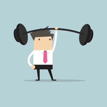 heavy: Businessman holding a heavy barbell with one hand