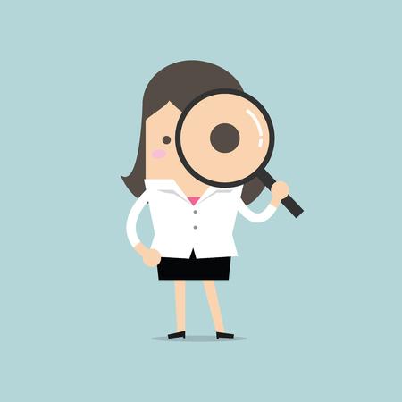 zvětšovací: Podnikatelka hledá přes zvětšovací sklo Ilustrace