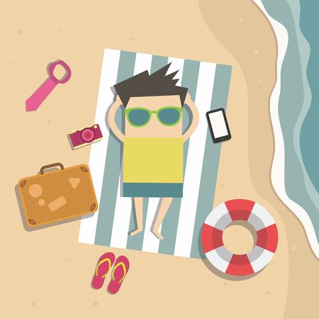 alegria: El hombre de negocios se relaja en la playa de vacaciones.