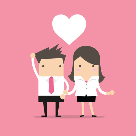 Businessman and Businesswoman feeling love in office Illustration
