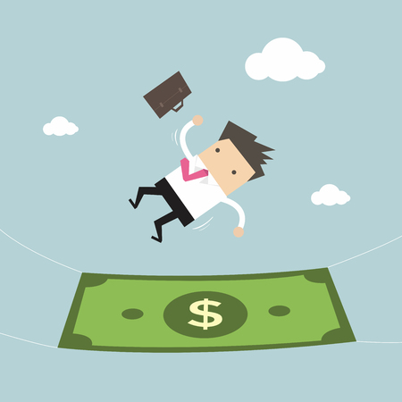 laid off: Businessman falling into a money banknote. Business concept