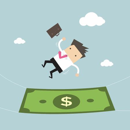El hombre de negocios que cae en un billete de banco de dinero. Concepto de negocio Ilustración de vector