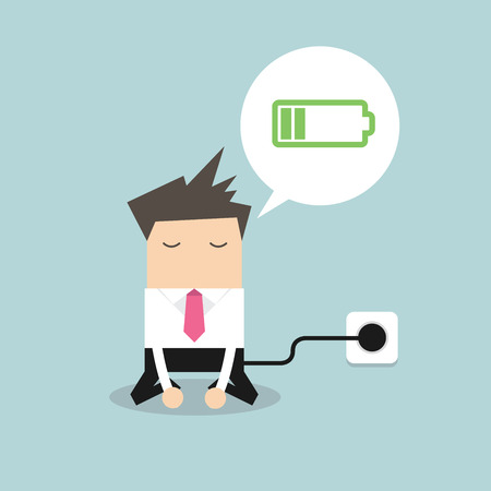 Businessman feeling tired and charging battery.