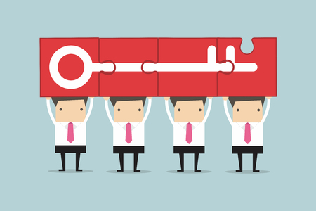 success concept: Businessman holding puzzle success key, Teamwork Concept. Illustration