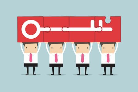 llaves: Empresario de la celebración de éxito clave del rompecabezas, trabajo en equipo concepto.