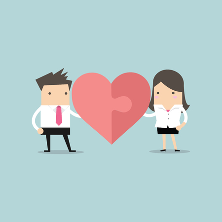 heart puzzle: Businessman and businesswoman with heart puzzle. Office love concept