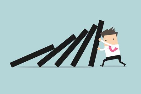 Zakenman duwen hard tegen dalende dek van domino tegels. Stock Illustratie