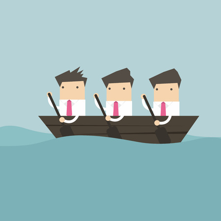 working together: Businessman rowing team, Teamwork concept.