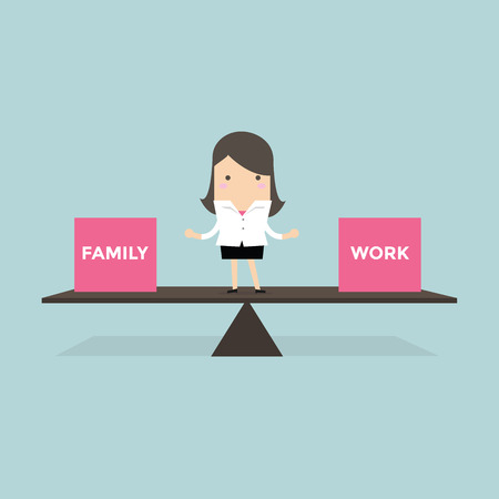 balance life: Businesswoman standing balance life with family and work vector