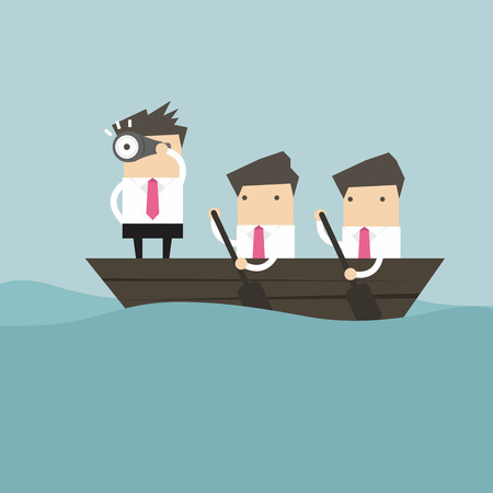 captain boat: Businessmen in rowing boat two rowers one captain manager boss leader.