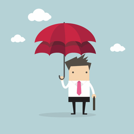 surety: Businessman with double umbrella, Business Concepts