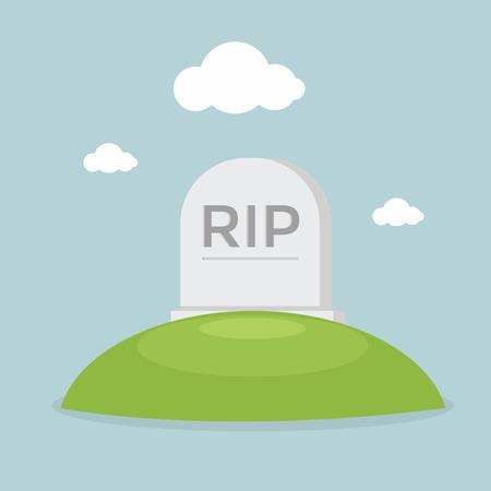 Grave flat design vector Illustration