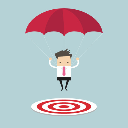 Businessman with parachute focused on a target Stock Illustratie
