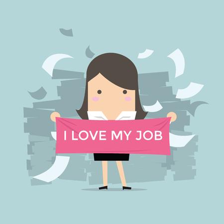 trabajando duro: Empresaria con el texto me encanta mi trabajo Vectores