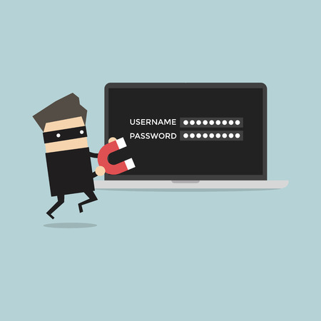 stealing: Hacker stealing passwords vector