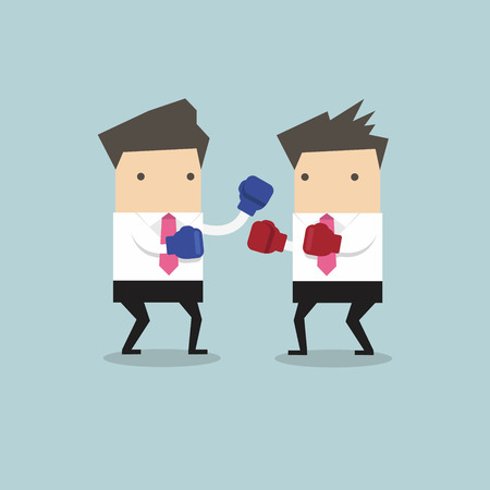 opposed: Two businessmen wearing boxing gloves fighting Illustration