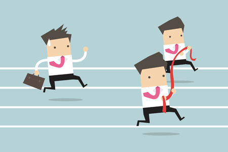 competing: Businessman running competition Illustration