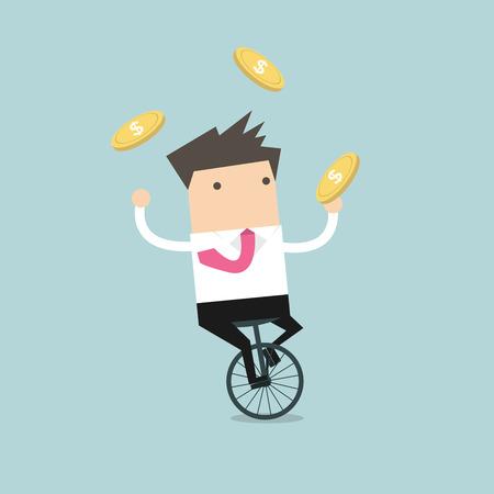 Empresario malabarismo de monedas mientras que el ciclismo Ilustración de vector
