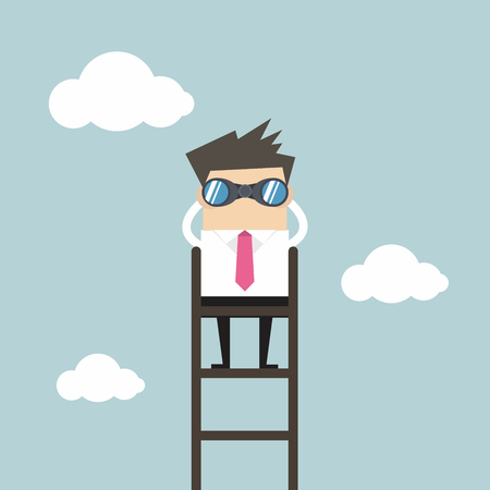 executive search: Businessman on a ladder using binoculars above cloud
