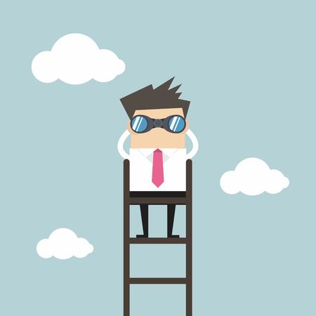 Geschäftsmann auf einer Leiter Fernglas über den Wolken mit