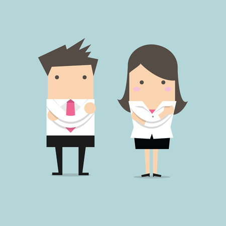 crossed arms: Businessman and businesswoman standing with crossed arms
