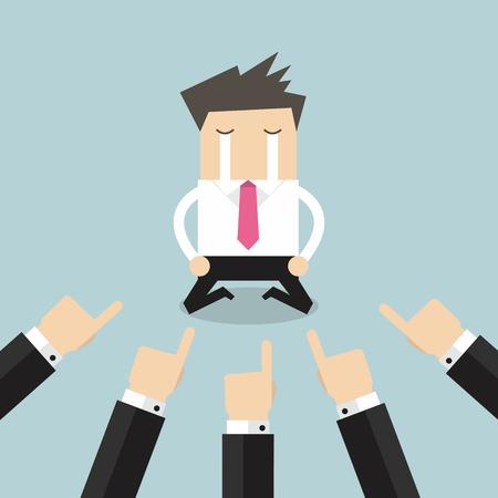 dedo: Homem de negócios com as mãos apontando para ele.