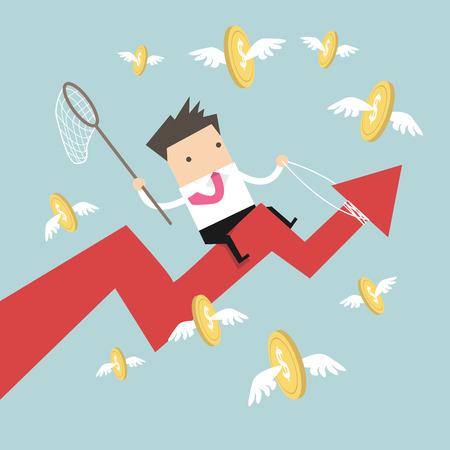 escape plan: Businessman riding success arrow graph catch flying coins Illustration
