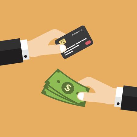 Hand met credit card en geld vector