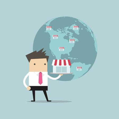 communication cartoon: Businessman show his business on global, Franchise Concept.