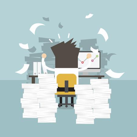 Uomo d'affari molto impegnato sul tavolo dell'ufficio. lavorare concetto difficile.