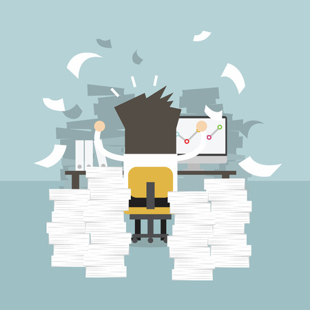 worried executive: Businessman very busy on office table. work hard concept. Illustration