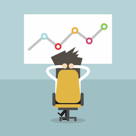 relaxing: Businessman relaxing in his chair whit growing graph. Business idea, innovation, development and strategy vector