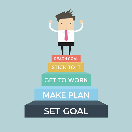 set going: Businessman going up to success, Set and reach goal concept Illustration