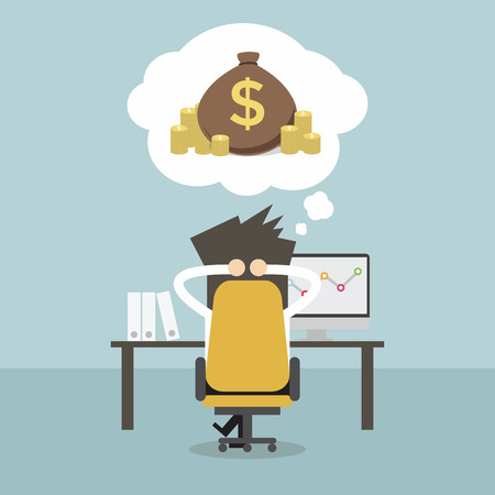 residual income: Businessman dreaming about money. Vector